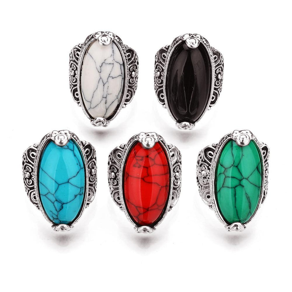 Fashion Jewelry Vintage Look Tibetan Alloy Antique Silver Plated Personality Red Green Blue Oval Calaite Ring Male Female Ring 1