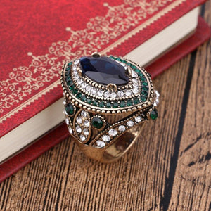 Luxury Vintage Jewelry Big  Wedding Rings For Women Gold Color Mosaic Green Crystal 2016 New Fashion Accessories 4