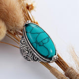 Fashion Jewelry Vintage Look Tibetan Alloy Antique Silver Plated Personality Red Green Blue Oval Calaite Ring Male Female Ring