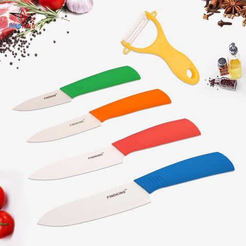 "FINDKING  New Zirconia kitchen knife set Ceramic Knife set 3"" 4"" 5"" 6"" inch+ Peeler+"