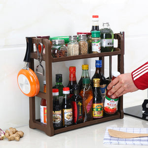 Kitchen rack storage rack condiment appliance kitchen 2-layer kitchen utensils wall hanging