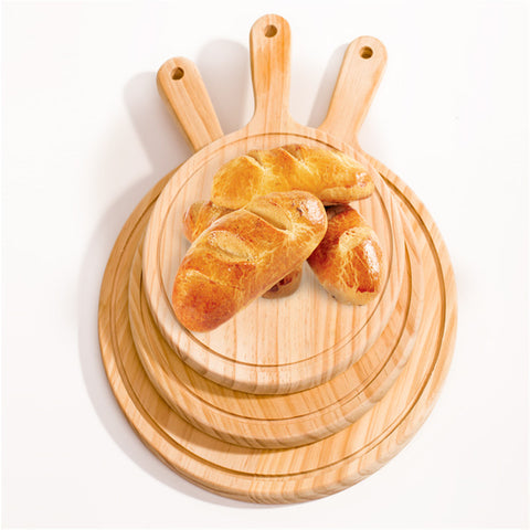 Wooden Pizza board Round with Hand Pizza Pan Baking Tray Pizza Stone Cutting Board Platter Pizza