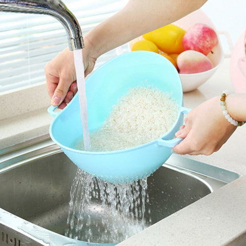 New arrival Double Handle Rice Washing Machine Rice Strainer  Basket Kitchen