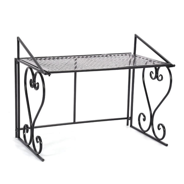 Black Iron Fashionable Folding Microwave Oven Rack Stand Kitchen Storage Shelf Organizer