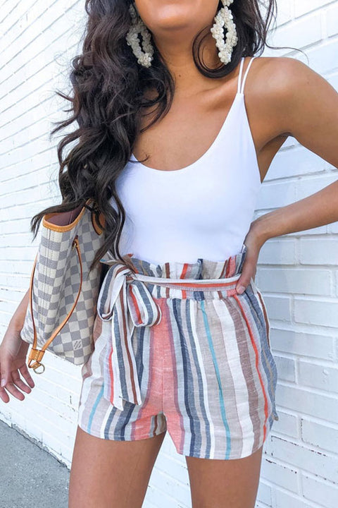 Crisdress Paper Bag Striped Shorts
