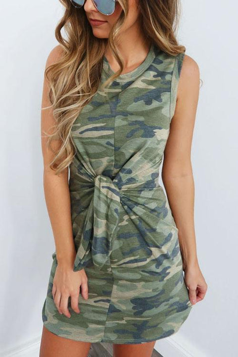 Crisdress Tied Knot Waist Camo Dress