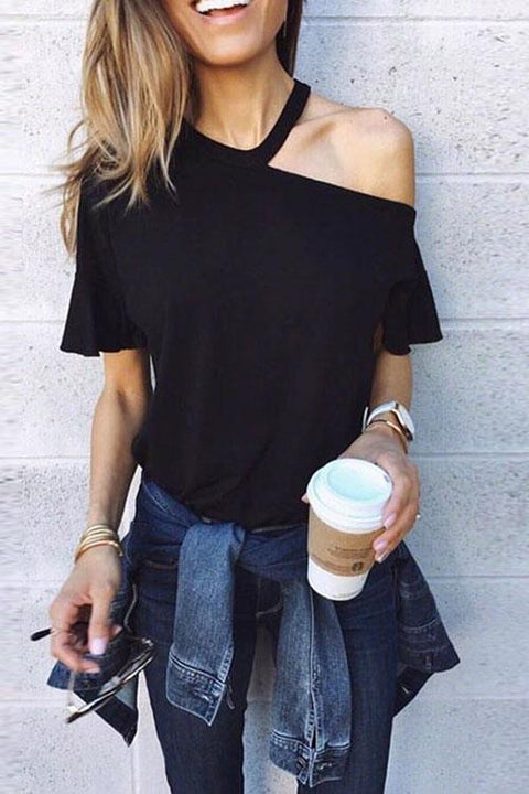 Crisdress Chic One Shoulder T-shirt