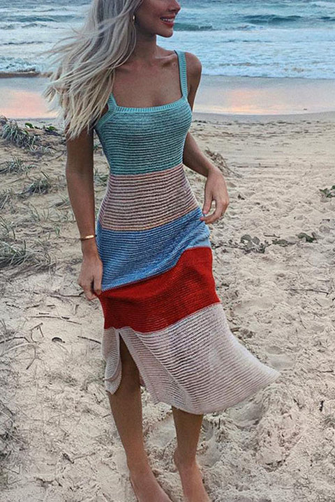Crisdress Sunrise Rainbow Striped Dress