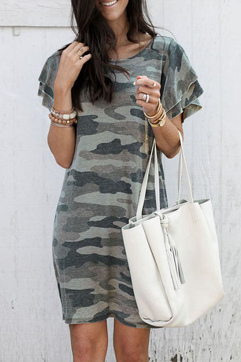 Crisdress Bubble Sleeves Camo T-shirt Dress