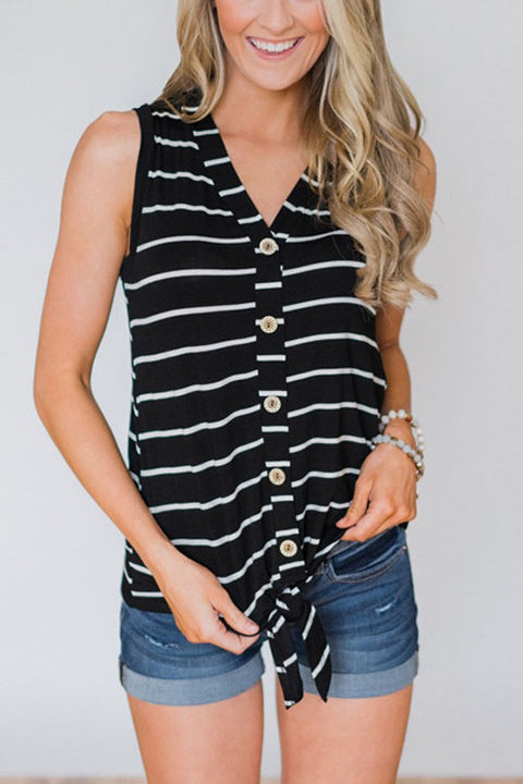 Crisdress Button Down Striped Tie Top