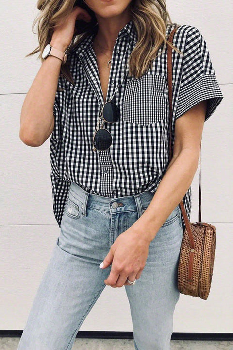 Crisdress Black And White Plaid Shirt