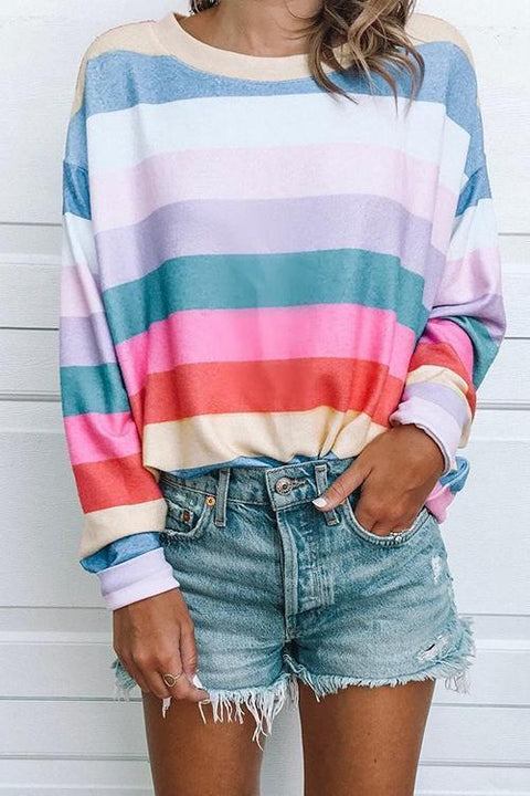 Crisdress Pretty Colorful Striped Shirts Tops