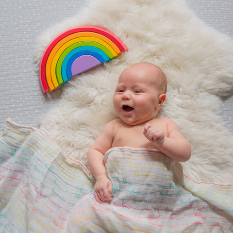 Rainbow-Coloured-Organic-Cotton-Muslin-Swaddle-Baby