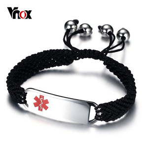 Vnox Free Engraving Medical Bracelets ID for Men Stainless Steel Emergency Alert Jewelry Braided Chain Adjustable Length