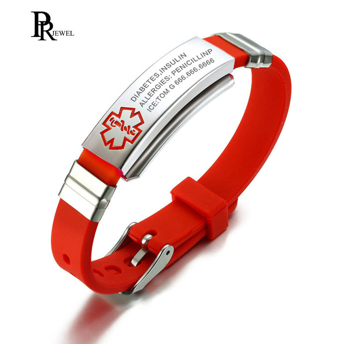 Engraving Custom ID Text Name Medical Alert Bracelet for Women Emergency Remind Jewelry Red Silicone Adjustable Size