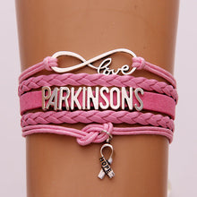 Drop Shipping Infinity Love Parkinsons Bracelets Wrap Rope Leather Bracelet & Bangles Ribbon Hope Charm Braid Awareness Jewelry
