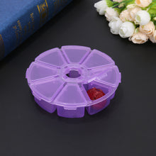 8 Compartment Round Clear Plastic Storage Box Case Jewelry Beads Organizer Nail Art Storage Box Pills and Drugs Container