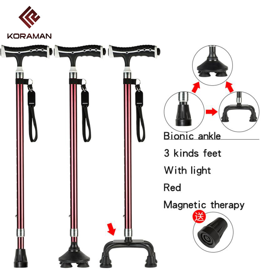 KORAMAN elderly walking stick adjustable telescopic hiking cane elderly crutch stick magnetic therapy fitness rollator055