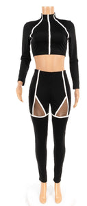 Midriff Two Piece Workout Suit