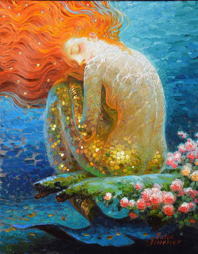 Fantasy Vintage Mermaid Oil Painting Printed On Canvas