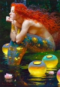 Sitting Mermaid Canvas Prints Oil Painting