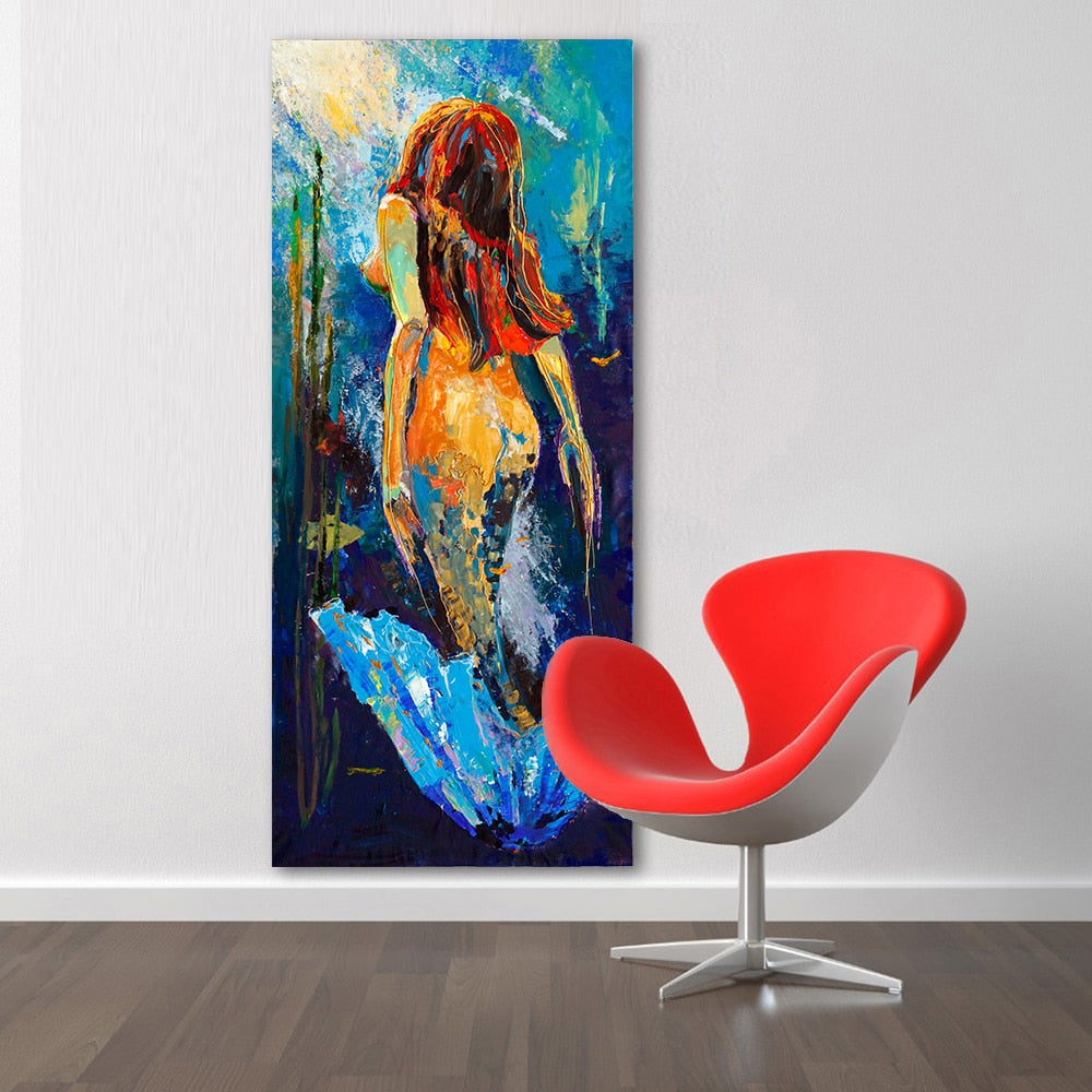 Mermaid Oil Painting Canvas