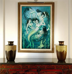 Swimming Mermaids HD Canvas Print