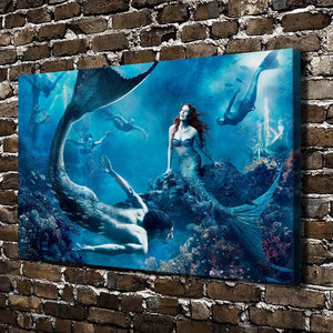 Girl and boy mermaids HD Canvas Print