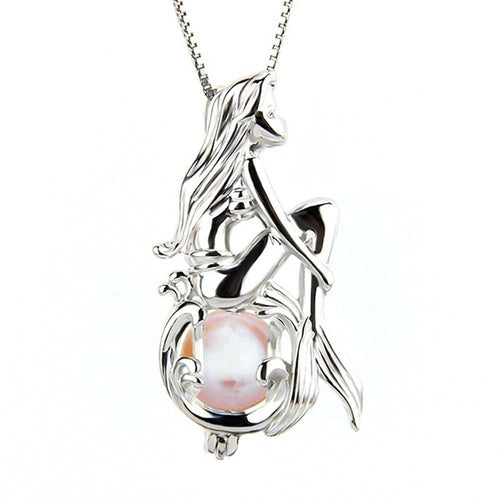 Mermaid Imitation Pearl Cage Pendant Necklace