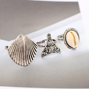 Sliver Mermaid Tail Shell Rings