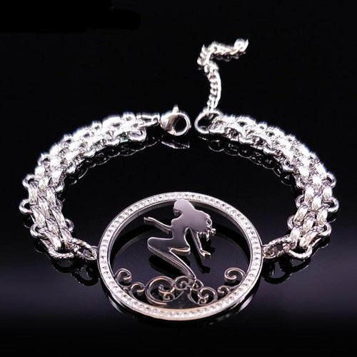 Crystal Stainless Steel Mermaid  Chain Bracelet