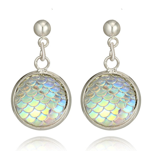 Round Resin Mermaid Scales Drop Earrings