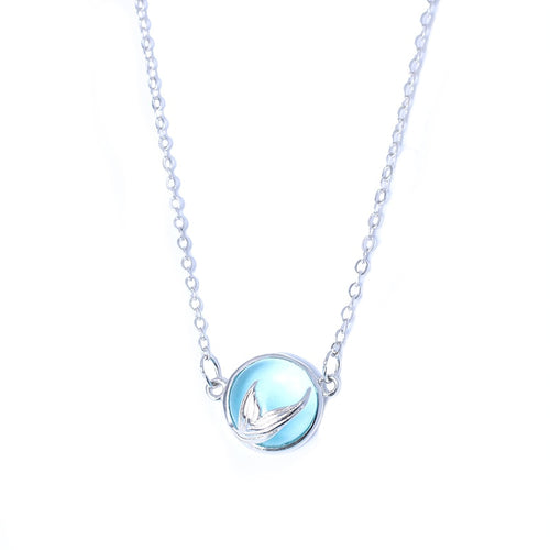 925 Sterling Silver Blue Crystal Mermaid Tears Necklaces
