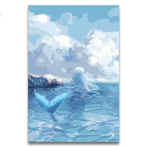 Blue Mermaid oil painting on canvas