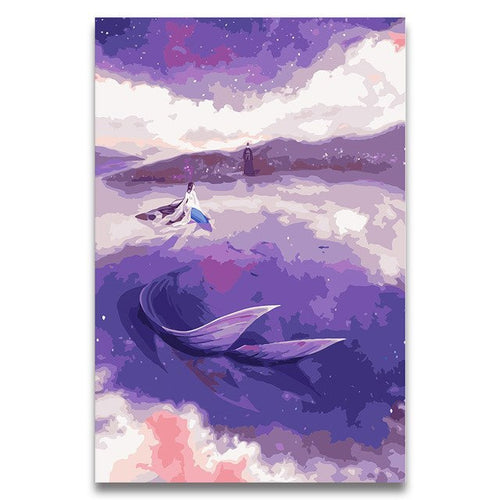 Purple Mermaid oil paintings