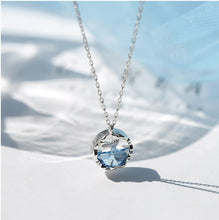 Load image into Gallery viewer, 100% 925 Sterling Silver Crystal Round Charm Mermaid Necklace