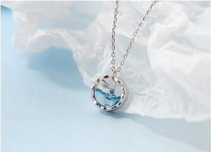 100% 925 Sterling Silver Crystal Round Charm Mermaid Necklace