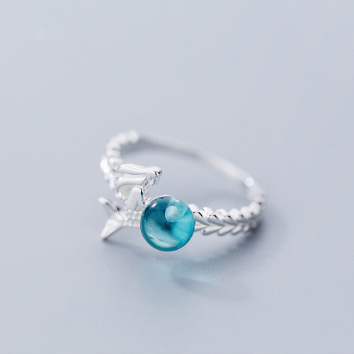 100% 925 Sterling Silver Blue Crystal Mermaid Ring