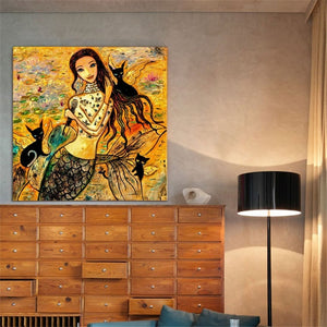 Mermaid with Cats Canvas Painting