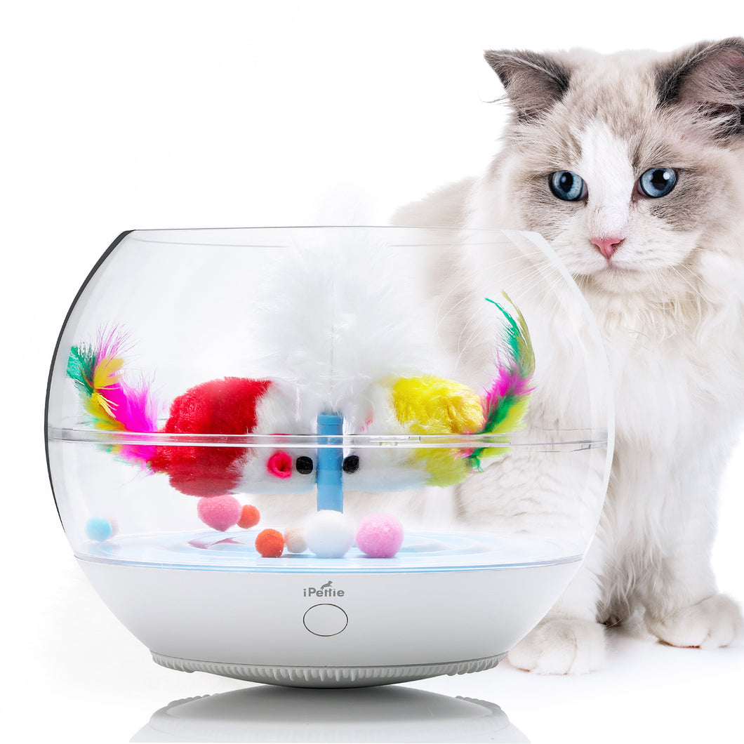 Fish Chaser Interactive Cat Toy, Fish Bowl-Shaped Tumbler Pet Toy with Automatic Swimming Fish, Ultra-Quiet, for Kitten Indoor Self Play Enrichment Exercise Teasing