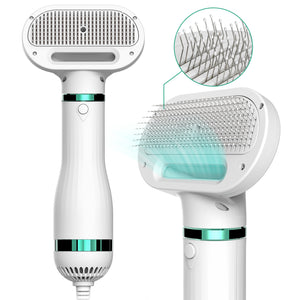 Pet Hair Dryer with Slicker Brush, 2020 Upgraded, 3 Heat Settings, One-Button Hair Removal, Professional Home Grooming Furry Drying