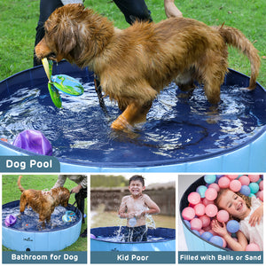 "Foldable Dog Swimming Pool, Portable Collapsible Outdoor Pet Bathing Tub, 48"" x 12"""