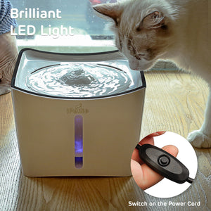 iPettie Kamino LED Light Pet Fountain with Switch and USB Port | White and Black