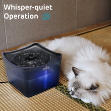 Translucent Blue, Kamino LED Light Pet Water Fountain with Switch and USB Port