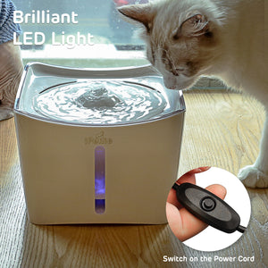 White, Kamino LED Light Pet Water Fountain with Switch and USB Port
