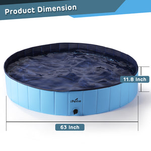 "Foldable Dog Swimming Pool, Portable Collapsible Outdoor Pet Bathing Tub, 63"" x 12"""