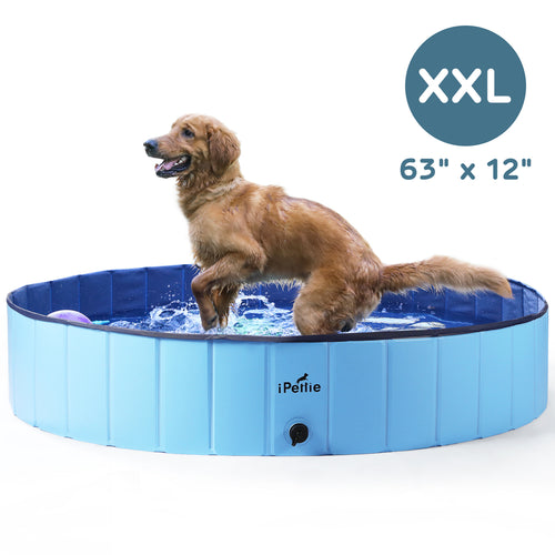 Foldable Dog Swimming Pool, Portable Collapsible Outdoor Pet Bathing Tub, 63