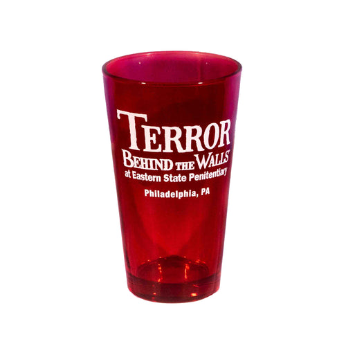 Terror Behind the Walls Red Pint Glass