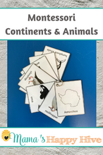 Load image into Gallery viewer, Montessori Continents and Animals Pocket Cards