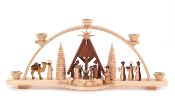 Nativity Schwibboggen with Candle Case Top